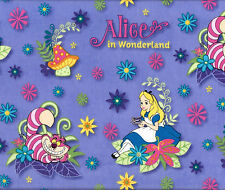 Alice in Wonderland Fairy Tale Story Disney Licensed Girls Quilt Fabric FQ NEW