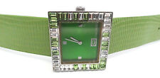 Marc Ecko Bling Bezel Green Leather Band Women's Watch GREAT GIFT