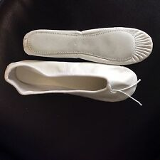 WHITE LEATHER BALLET SHOES SIZE 8 ADULT