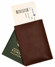 Genuine leather passport holder case Dark Brown cover wallet card protect travel