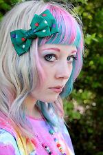 GREEN SPOTTY BOW HAIR CLIP - EMO SCENE GOTH LOLITA KAWAII