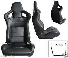 NEW 2 BLACK PVC LEATHER RACING SEATS + SLIDER RECLINABLE ALL DODGE