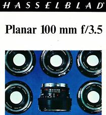 1971 HASSELBLAD PLANAR 100mm  f/3.5 CAMERA LENS BROCHURE -from 1971-HASSELBLAD