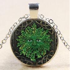 NEW Cabochon Glass Necklace Silver/Bronze/Black  pendant(celtic green man)