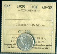 1929 Canada King George V Ten Cent ICCS AU-58