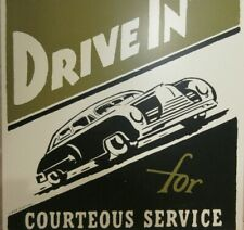 2004 FoxClocks Drive In For Courteous Service Metal Sign Automobile 12 x 12 Sign
