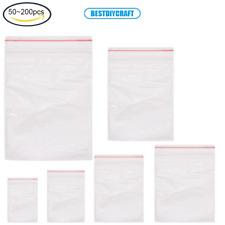 50~200Pcs Self-Zip Bags Reusable Bags Seal Plastic Bags for Food Items Storage