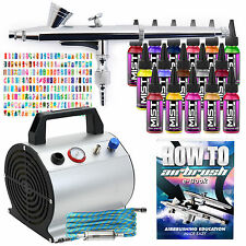 Complete Nail Art Airbrush Kit - 16 Colors - 240 Stencils Set with Compressor