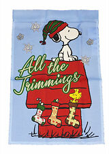 """Peanuts On Doghouse Christmas All The Trimmings Mini Flag~12"""" x 18""""~New"""