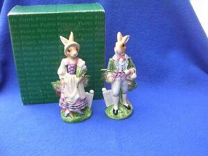 New Fitz and Floyd Old World Rabbits Salt & Pepper Set 6.5 Easter Spring Display