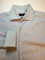 Hugo Boss Men's 15.5 34/35 Sharp Fit French Cuff Blue White Spread Dress Shirt