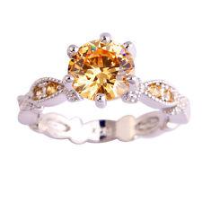 Women  Round Cut Morganite White Topaz Gemstone Silver Ring Size 6-10 Jewelry