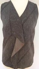 NEW NEXT 8 ladies brown green paisley frill sleeveless blouse tunic top