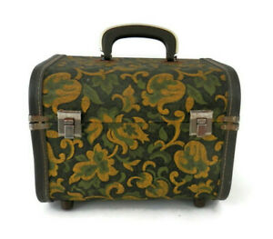Vintage Green & Gold Tapestry Train Case w/Moire Satin Lining Cosmetics Luggage