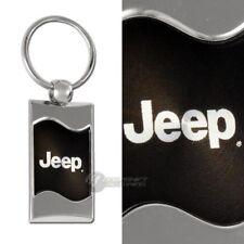 Jeep Logo Black Rectangular Authentic Chrome Key Fob Key ring Keychain Lanyard
