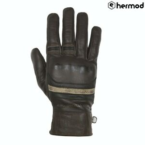 Helstons Mora Goat Leather Motorbike Motorcycle Gloves - Brown/Black/Beige