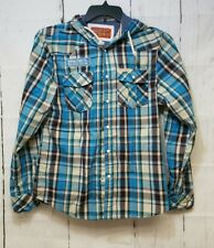 Rolling Paper Company Blue Plaid Hooded Mens Shirt Small Delco Gasoline Snaps