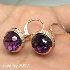 Solid 14K Rose Gold 2P/10.6CT 8.50mm Round Amethyst 0.48CT Diamond Fine Earring