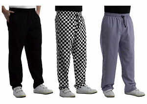 Chefs Plain or Check Polycotton Trousers Unisex Cooks Kitchen Catering Workwear