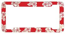 RED TROPICAL ROSE PLASTIC LICENSE PLATE FRAME