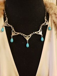 """Sterling Silver TURQUOISE DANGLES 18"""" Necklace, Handcrafted Native American"""