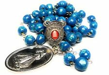 St Faustina Kowalska Blue Relic Chaplet Divine Mercy Miraculous Medal