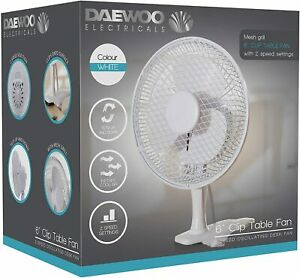 Daewoo 6-Inch Clip-On Desk Table Cool Air Fan Home Office 15W 2 Speed Settings
