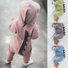 UK Newborn Baby Dinosaur Outfit Hooded Romper Bodysuit Soft Playsuit 0-18Month