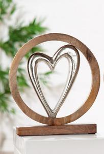 GILDE Herz in Kreis aus Aluminium Mango Holz  H: ca. 26 cm  48683 1
