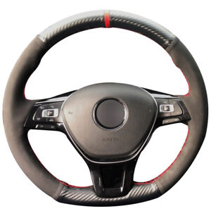 Carbon Fiber Leather Black Suede Steering Wheel Cover for VW Golf 7 Mk7 New Polo