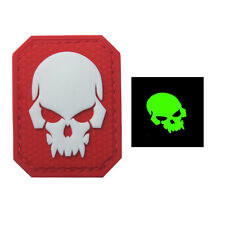 PIRATE SKULL GLOW 3D PVC TACTICAL MILITARY MORALE RUBBER HOOK PATCH RED WHITE