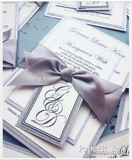 Silver Glitter & Soft Grey Wedding Evening Invitations with RSVP ♡ PERSONALISED