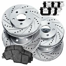 Fit Hyundai Genesis Coupe Front Rear  Drill Slot Brake Rotors+Ceramic Brake Pads