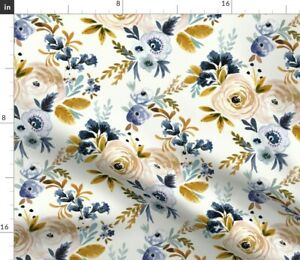 Floral Flowers Blue Mustard Rose Autumn Fall Spoonflower Fabric by the Yard