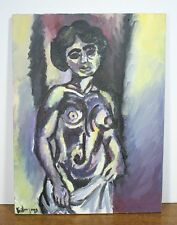 Vintage Oil Painting of a Nude Woman. Impressionist. Signed