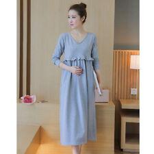 Maternity Shift Dress Pregnancy V Neck Long Dress Comfortable Loose Hem Costume