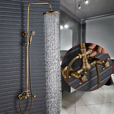 "Exposed Antique Brass 8"" Rain Shower Faucet Set W/Hand Shower Tap Wall Mounted"