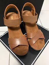 MIA Womens Joy Wedge Platform Sandals Cognac Brown Size 7 M US