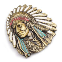 Vintage American Native Indian Chief Feather Western Badge Alloy Belt Buckle ADF