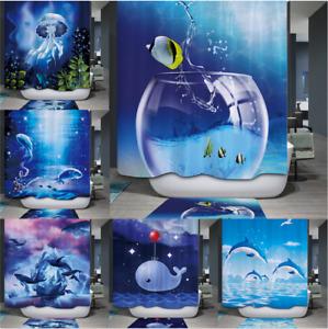 Shower Curtain Fish Bathroom Waterproof Mildew Splash Resistant Mould Proof