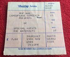 U2 Wembley Arena Thurs 15th Nov 1984 TICKET Stub Rare as a Promo