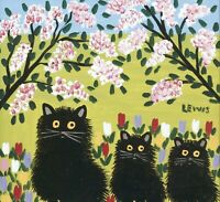 """Maud-alewis-Three-Black-Cats CANVAS PICTURE WALL ART 20""""x20"""" INCHES"""