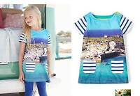 Mini Boden dress girls jersey Cornwall print NEW blue age 1 2 5 6 7 8 9 10 11 12