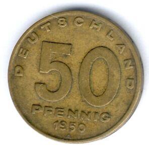 """DDR 50 Pfennig 1950 A. (Alu.-Bronze) """"Fabrik/Pflug"""" Jaeger 1504"""