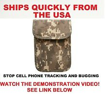 Camouflage Phone Pouch Blocks RF Signals Stops Cell Phone Tracking and Bugging