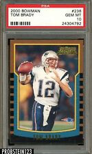 "2000 Bowman Football #236 Tom Brady RC Rookie PSA 10 GEM MINT "" Razor Sharp """