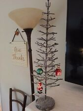 """Star of Wonders Metal & Glitter Snow Christmas Ornament Holiday Feather Tree 20"""""""