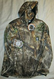 New YOUTH Realtree Edge Tech Hoodie Camo Hunting w/ Built-In Face Neck Gaiter XL