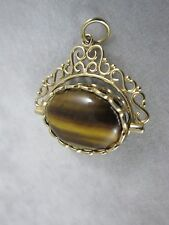 9ct Gold Tigers Eye Black Onyx Watch Chain Swivel Fob Pendant hallmarked 6.7g