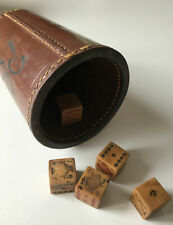 More details for vintage leather dice cup shaker + 5 poker dice 'players please' gambling [gsp]